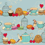 Seamless pattern with tea, cage, coffee pot, cup, jelly, cherry, berry, macaroon, strawberry, spoon, bird, flower, peony, raspberr Stock Photo
