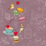 Seamless pattern with tea, cage, coffee pot, cup, jelly, cherry, berry, macaroon, strawberry, spoon, bird, flower, peony, raspberr Royalty Free Stock Photos