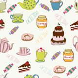 Seamless pattern with tea and cake. Seamless background with decorative tea time objects stock illustration