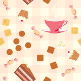 Seamless pattern with tea, cake, candies  and cookies on checkered tablecloth Stock Photography
