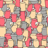 Seamless pattern of tea and coffee cups. Royalty Free Stock Photos