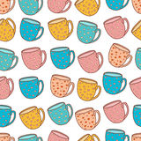 Seamless pattern of tea and coffee cups. Royalty Free Stock Image