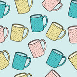 Seamless pattern of tea and coffee cups. Stock Photo