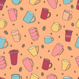 Seamless pattern of tea and coffee cups. Stock Images