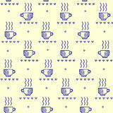Seamless  pattern with tea and coffee cups. Coffee break tiling background. Stock Image
