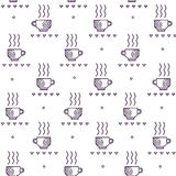 Seamless  pattern with tea and coffee cups. Coffee break tiling background. Royalty Free Stock Images