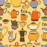 Seamless pattern of tea and coffee objects Royalty Free Stock Image