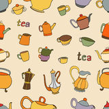 Seamless pattern of tea and coffee objects Royalty Free Stock Photography