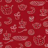 Seamless pattern with tea or coffee set Stock Photography