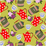 Seamless pattern with tea and coffee. Vector background, hand drawing Stock Images