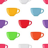 Seamless pattern of tea cup in cartoon flat style. Vector illustration Royalty Free Stock Images