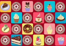 Seamless pattern of tea cup and cupcakes. Stock Image