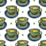 Seamless pattern with tea cups and calligraphy decoration. Watercolor texture for menu or wrapping design.  Stock Photography