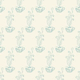 Seamless pattern with tea cups Royalty Free Stock Image