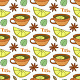 Seamless pattern with tea cups, lemons and spicy on white background. Vector illustration for menu and packaging design.  Stock Photos