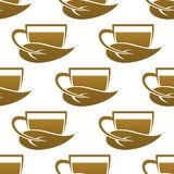 Seamless pattern of tea cups Stock Photography