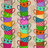 Seamless pattern of tea cups Stock Image