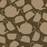 Seamless pattern of tea cups and teapots Royalty Free Stock Images