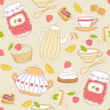 Seamless pattern with tea and fruits Stock Images