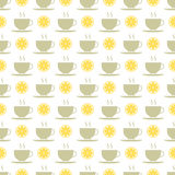 Seamless pattern of tea and lemons Stock Photos