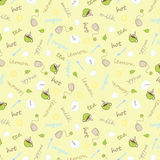 Seamless pattern - tea, milk, sugar Stock Photo