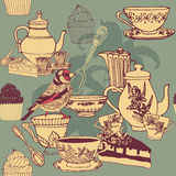 Seamless pattern Tea Party Stock Photography