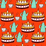 Seamless pattern of tea and pie. Vector illustration of seamless pattern of tea and pie. For design of menu of restaurants and cafe or design of Royalty Free Stock Photo