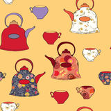 Seamless pattern with tea pots and cup Royalty Free Stock Photo