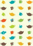 Seamless pattern of tea pots and cups. Seamless pattern of colored tea pots and cups Royalty Free Stock Photography
