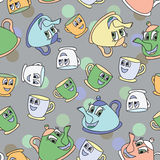 Seamless pattern with tea pots and cups Stock Images