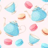 Seamless pattern with tea pots and cups Royalty Free Stock Photos