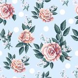 Seamless pattern with tea roses bouquet on light blue background. Vector illustration. Seamless pattern with tea roses bouquet on light blue background Royalty Free Stock Photo