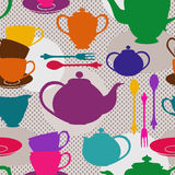 Seamless pattern of tea set Royalty Free Stock Image