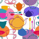 Seamless pattern of tea set dishes Stock Images