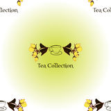 Seamless pattern with tea set logo Royalty Free Stock Photo