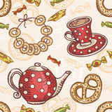 Seamless pattern with tea set Stock Photo