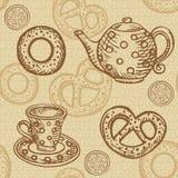 Seamless pattern with tea set Stock Image