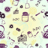Seamless pattern with tea, tea bag, cake and candy. Vector Stock Illustration