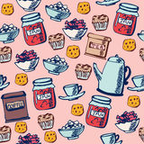 Seamless pattern Tea time Stock Photos