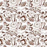 Seamless pattern tea time. Seamless pattern with inscription tea time, donut glaze, croissant, cup and saucer, cup of coffee to go, Stick sugar and splatter Stock Photo