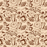 Seamless pattern tea time. Seamless pattern with inscription tea time, donut glaze, croissant, cup and saucer, cup of coffee to go, Stick sugar and splatter Stock Images