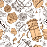Seamless pattern from tea time still life set, sketch, doodle, hand draw Stock Photography