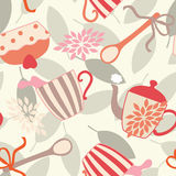 Seamless Pattern with Tea Utensils Stock Photo