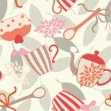 Seamless Pattern with Tea Utensils Stock Photo
