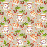 Seamless pattern with teacup, cheese cake and berries on pea spotted background Stock Image