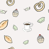 Seamless pattern. With teacup and cookies Stock Image