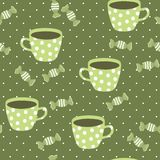 Seamless pattern with teacups. Stock Photography
