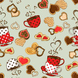 Seamless pattern of teacups and cookies Royalty Free Stock Photos