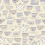 Seamless pattern with teacups and teapots Royalty Free Stock Photos