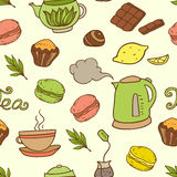 Seamless pattern with teapot and cakes Stock Image